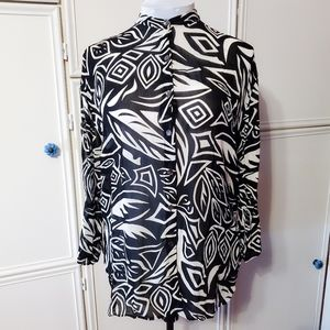 Chico's Black and White Tropical Button up Sz2